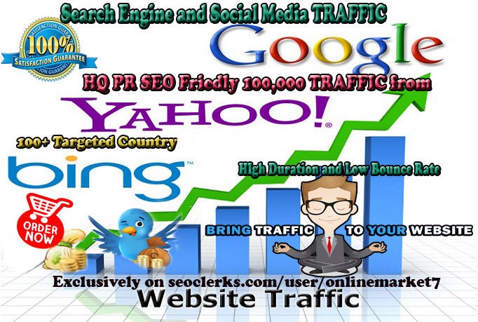 HQ 100,000 TRAFFIC with Low Bounce Rate and High Duration