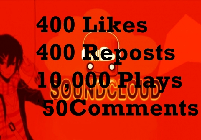 Provide 400 Soundcloud Likes 400 Reposts, 10,000 plays and