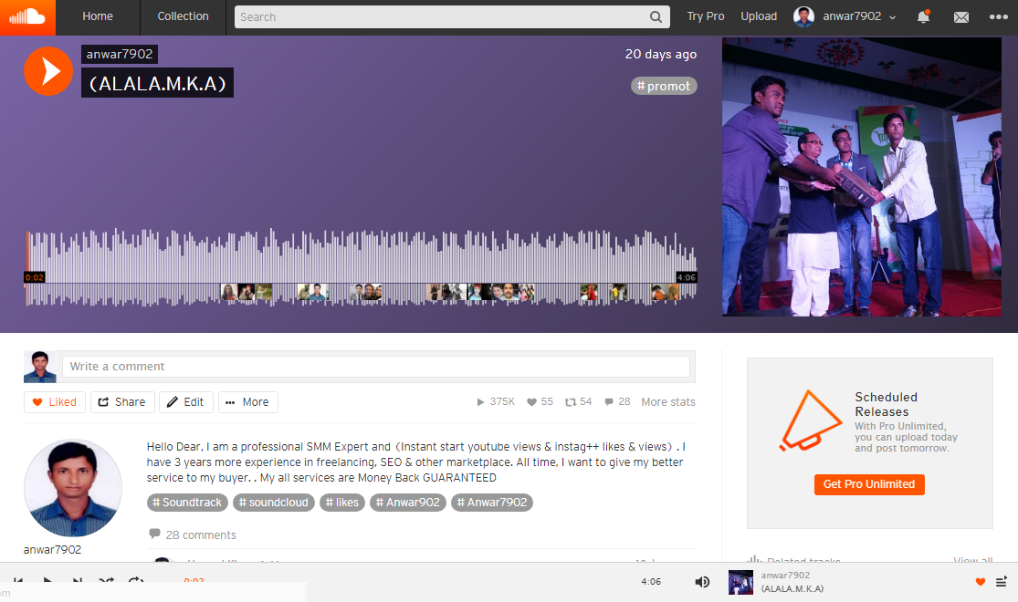 1 million 1,000,000+  plays 600+ P romotion Or 600 L ikes Or 500 R epost Or 120 C omment only