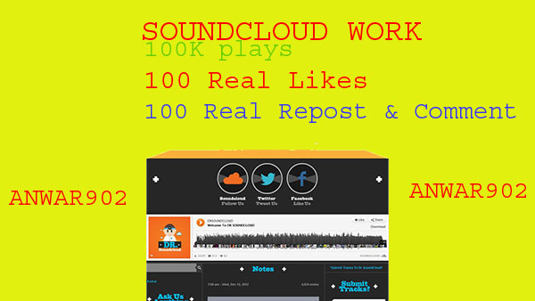 1 million 1,000,000+ soundcloud  plays 600+ soundcloud promotion Or 600 likes Or 500 repost Or 120 comment only