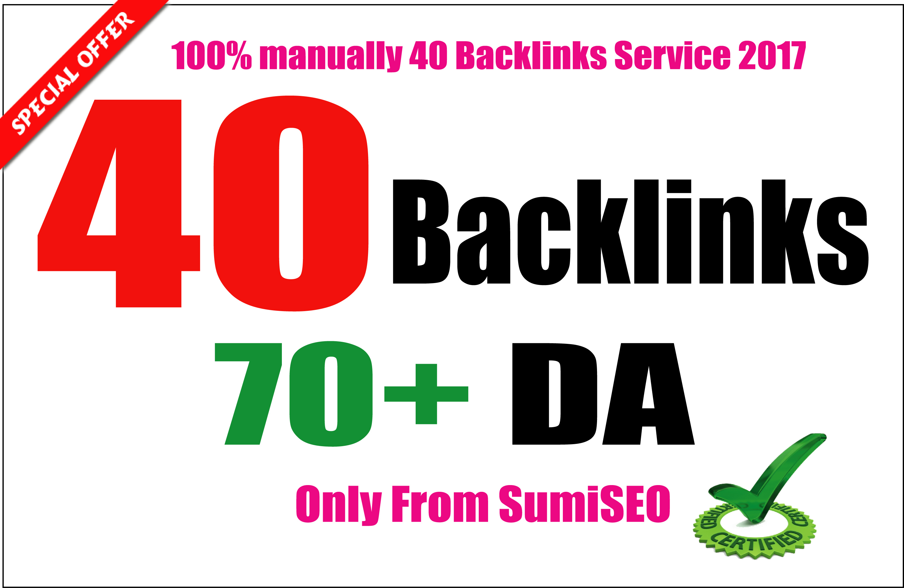 I will manually create 40 Backlinks From Da 70 to 100,  Skyrocket Your Ranking