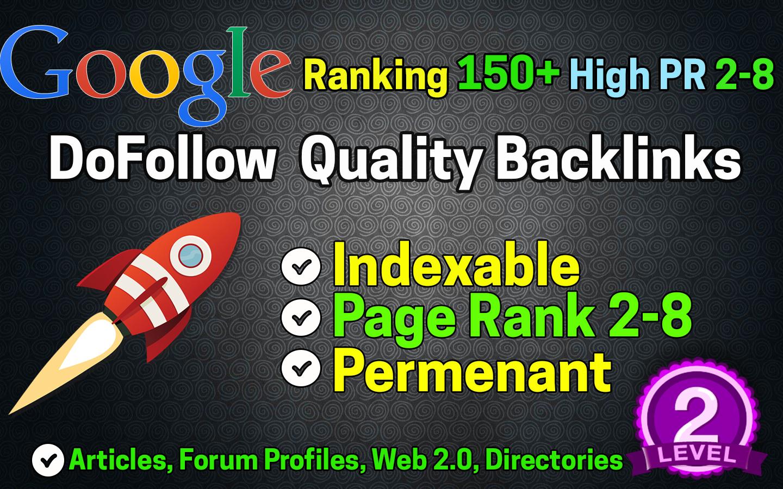 I will create POWERFULL 150+ Google Ranking High PR Dofollow Seo Backlinks