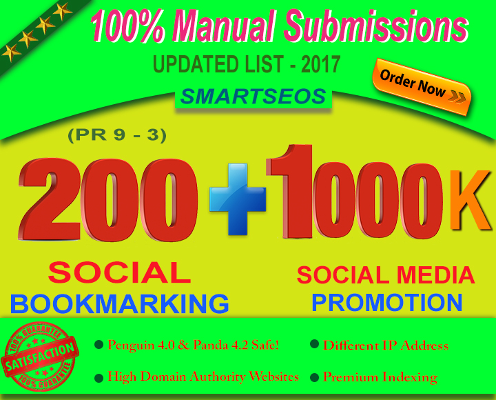 I Will Manually do 200 Social Bookmarking For Any Of Your Links as well as Facebook,  Youtube,  Twitter and Other Social Media Links Such