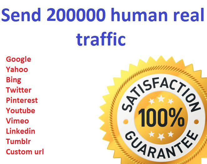 Send 200000+ Human Traffic by Google Bing yahoo etc