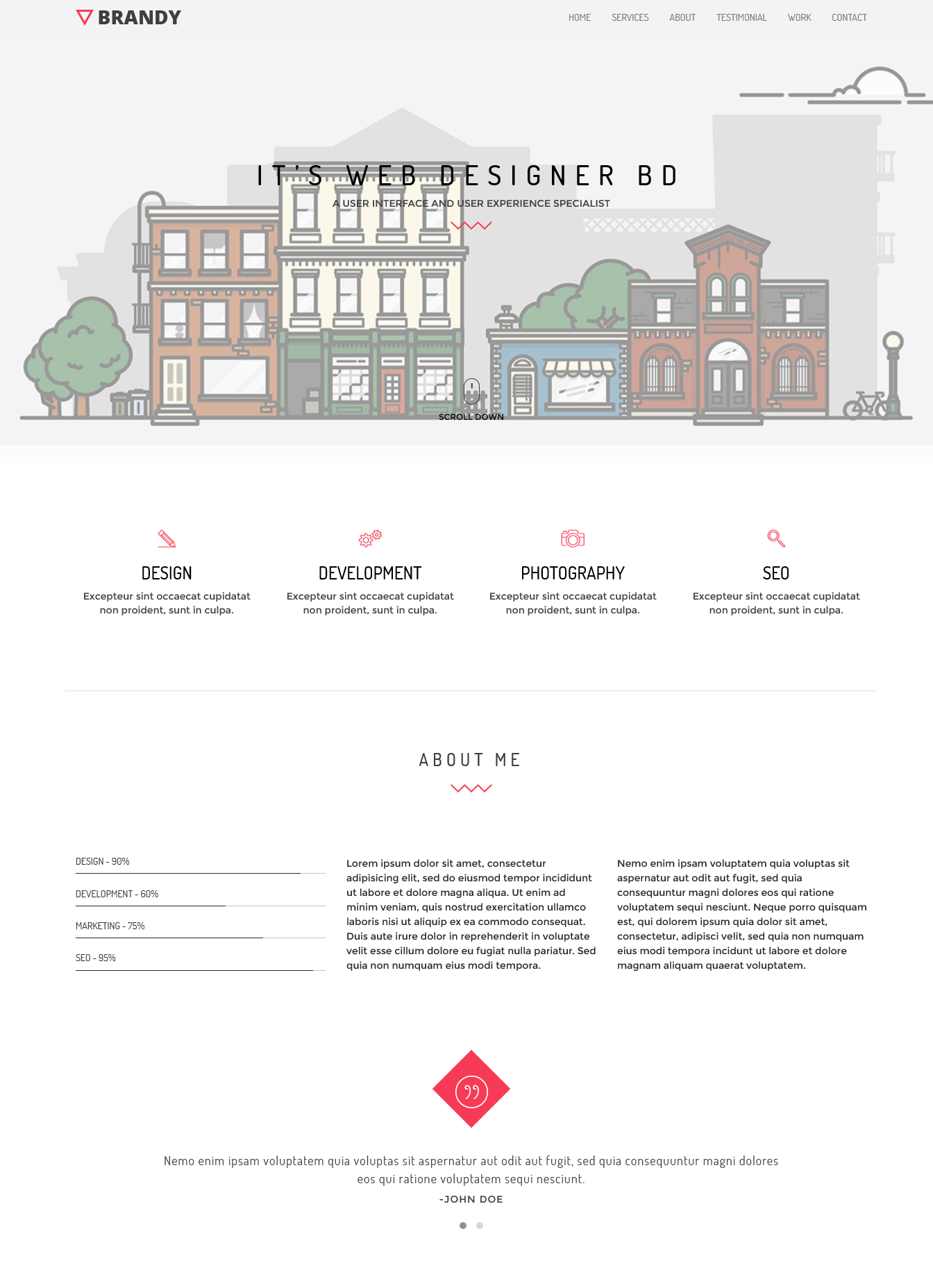 Brandy Portfolio responsive template for all device supported