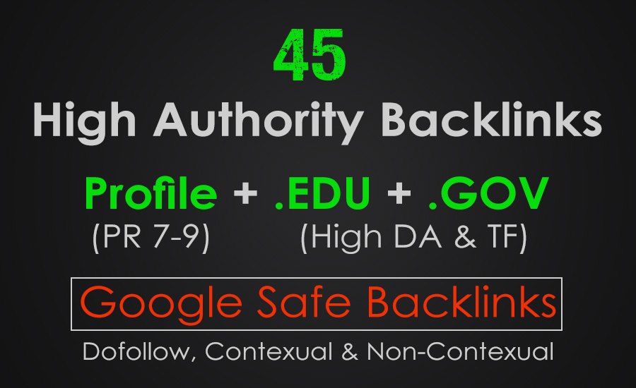 50 High PR Profile. EDU. GOV Backlinks From Authority Domains