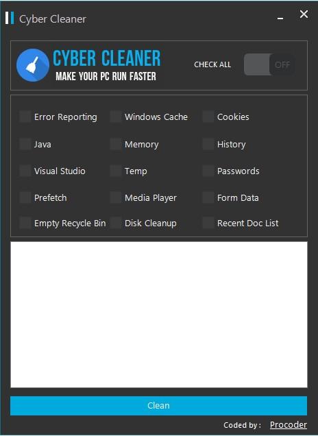 Cyber Cleaner - Clean Unnecessary files from your PC