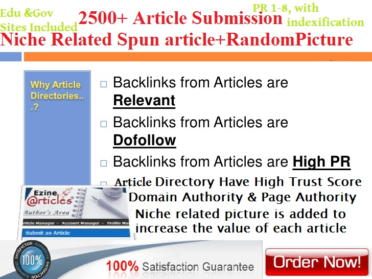 I will spin and submit artiicle to over 2500 article ...