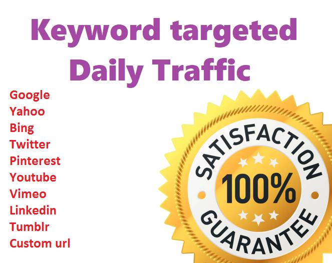 I will send daily 2000+ real human keyword target traffic for 10 days
