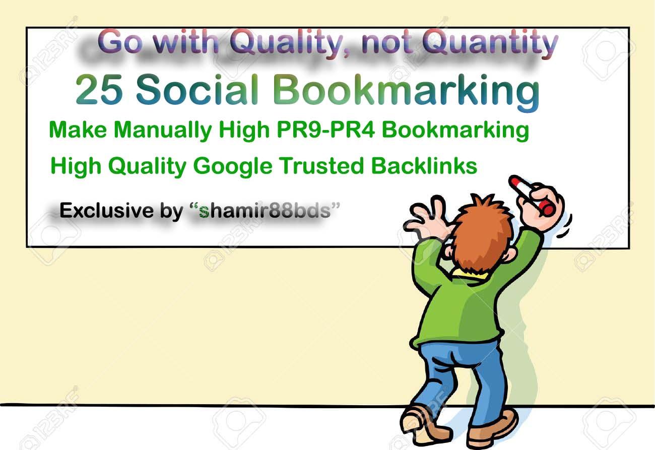 Manual 30 High Authority Social Bookmarking from HIGH DA60-DA100 or PR9-PR6
