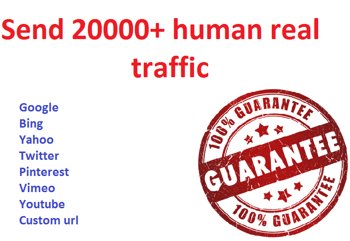 Drive 20000+ human traffic from Worldwide