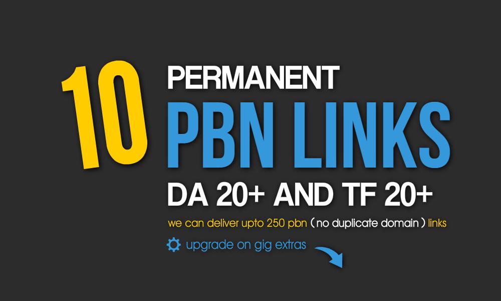 Permanent 10 PBN Links - DA 20+ and TF 20+