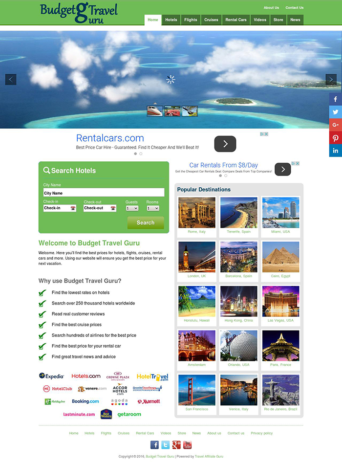 Automated Wordpress Hotel,  Flight,  Cruises,  Rental Cars & Amazon Store Search Engine Script