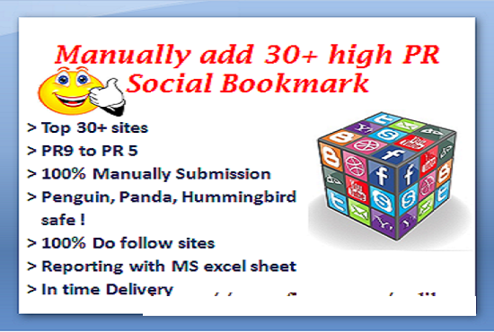 I will add your site Manually In 25+ high PR 10-7 Social Bookmark