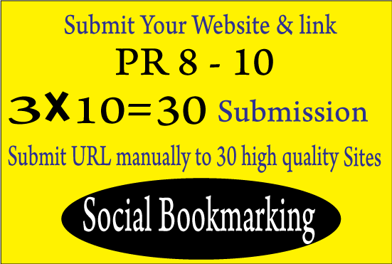 I will manually social bookmark on 30 PR8To10 Google Friendly Sites