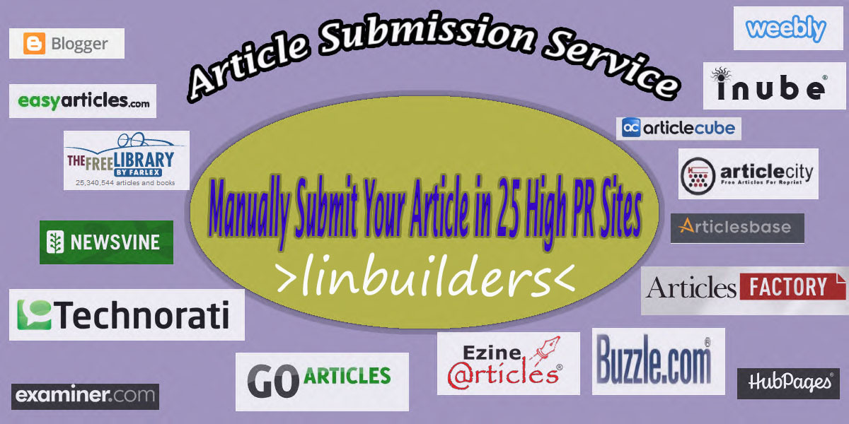 manually Article Submission on 10 PR9-PR6 Domain Sites