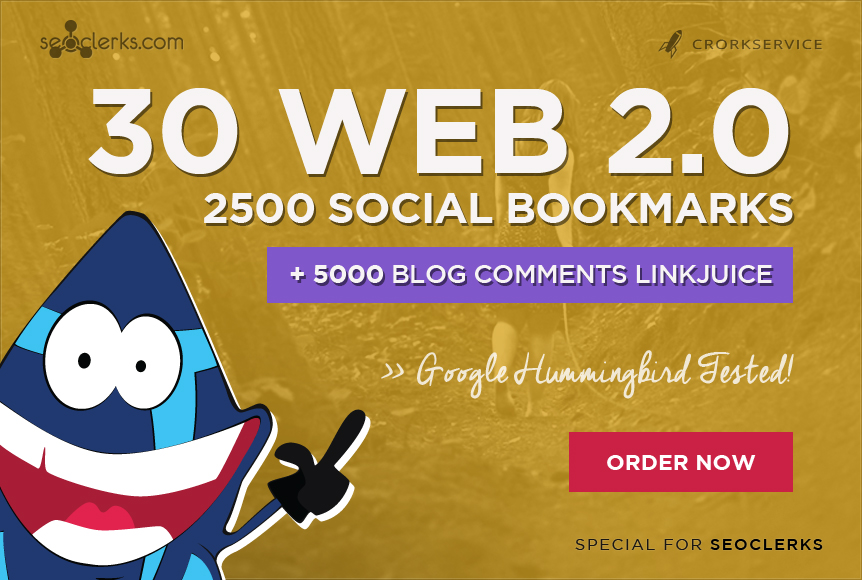 I will make 30 web 2, 0 properties, 2500 social bookmarks backlinks