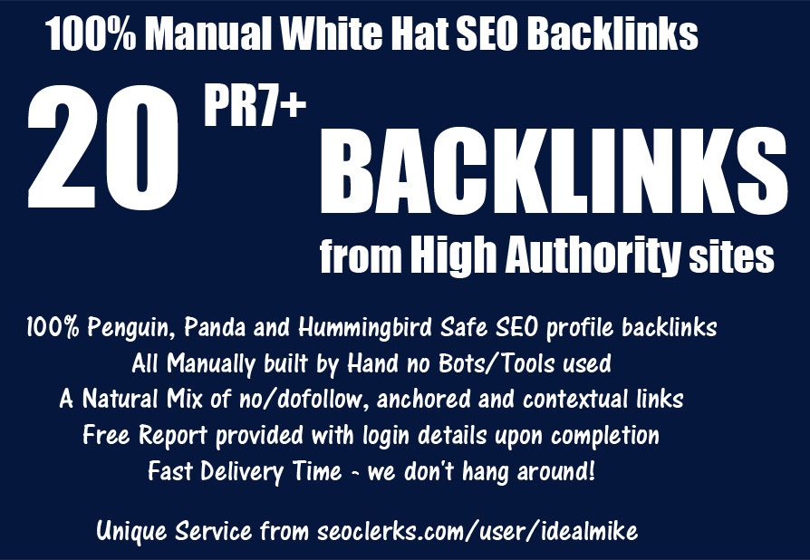 Build You 20+ PR7+ White Hat SEO Backlinks High Authority Link Building Service