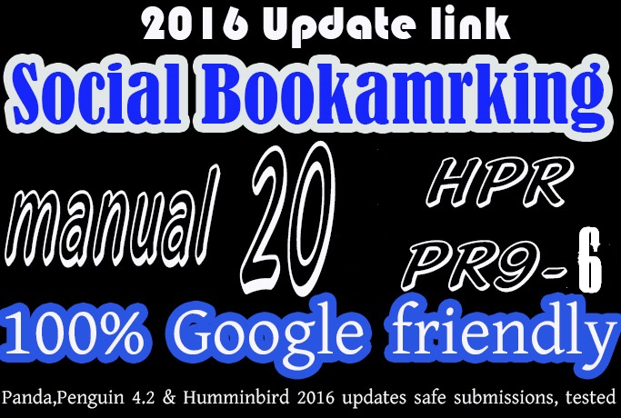 Social Bookmarking backlink manualy done 20  PR9, PR8, PR7 - With full  report