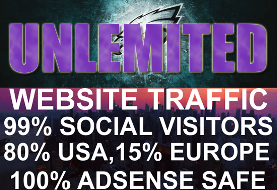 I will drive UNLIMITED genuine real traffic to your website for one month