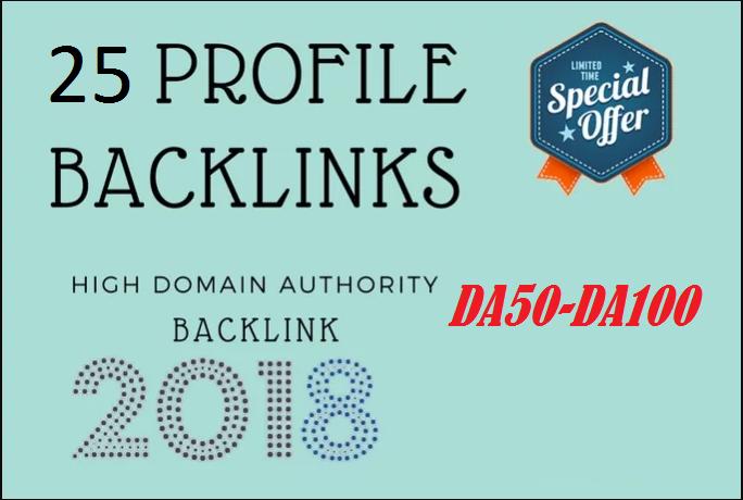 25 Google Dominating Profile Links DA50-DA100 Superfa...