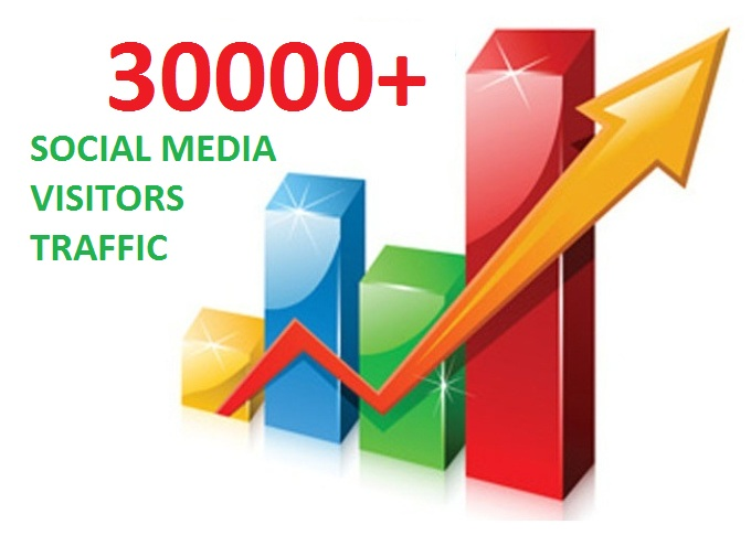 30000 Real Social Media Visitors Traffic to Website OR Blog