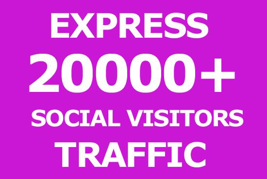 20000 Express Social Media Visitors Traffic to Website