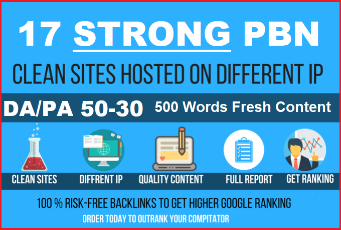 10 Permanent Manual High DA/PA 50-30 Homepage Dofollow PBN Backlinks