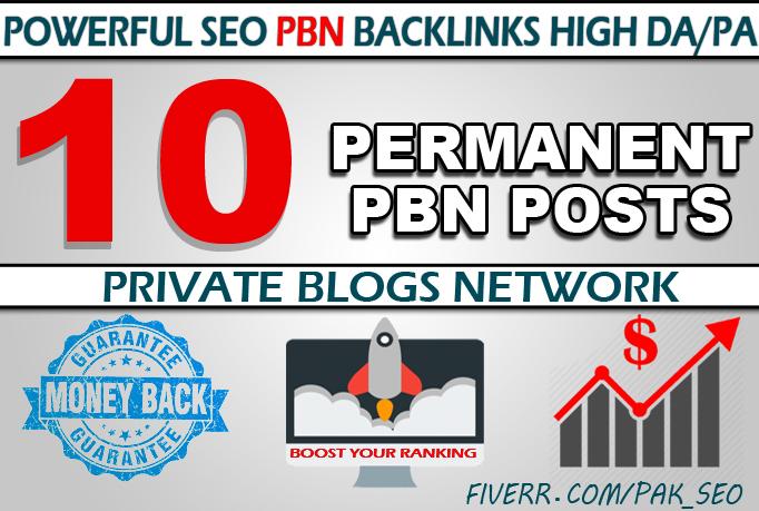 Create 10 Permanent Homepage PBN Dofollow links Manually