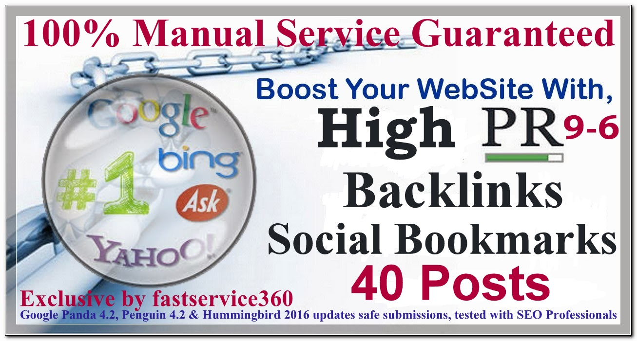Manual Social bookmarking backlinks on top 40 sites P...