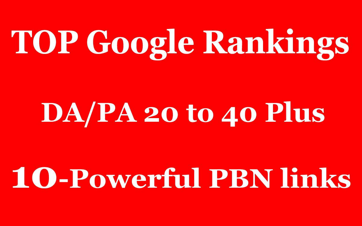 10 Powerful PBN Backlinks - TOP Google Rankings - DA/PA 20 to 40 Plus