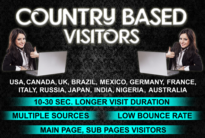 LOW BOUNCE UK, USA,  EUROPE,  AUSTRALIA website traffic visitors