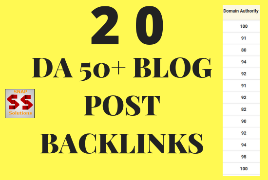 20 DA 50 + Blog Post Backlinks Using Your GIVEN ARTICLE
