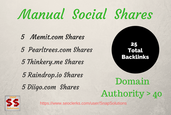 GIVE  5  Blogger , 5 Pearltrees,  5 Thinkery, 5 Raindrop.io, 5 Diigo.com Shares For Your URL