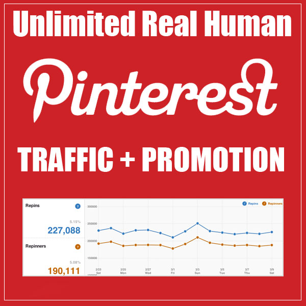 Unlimited Real Human Pinterest Traffic and Pin Promotion Service