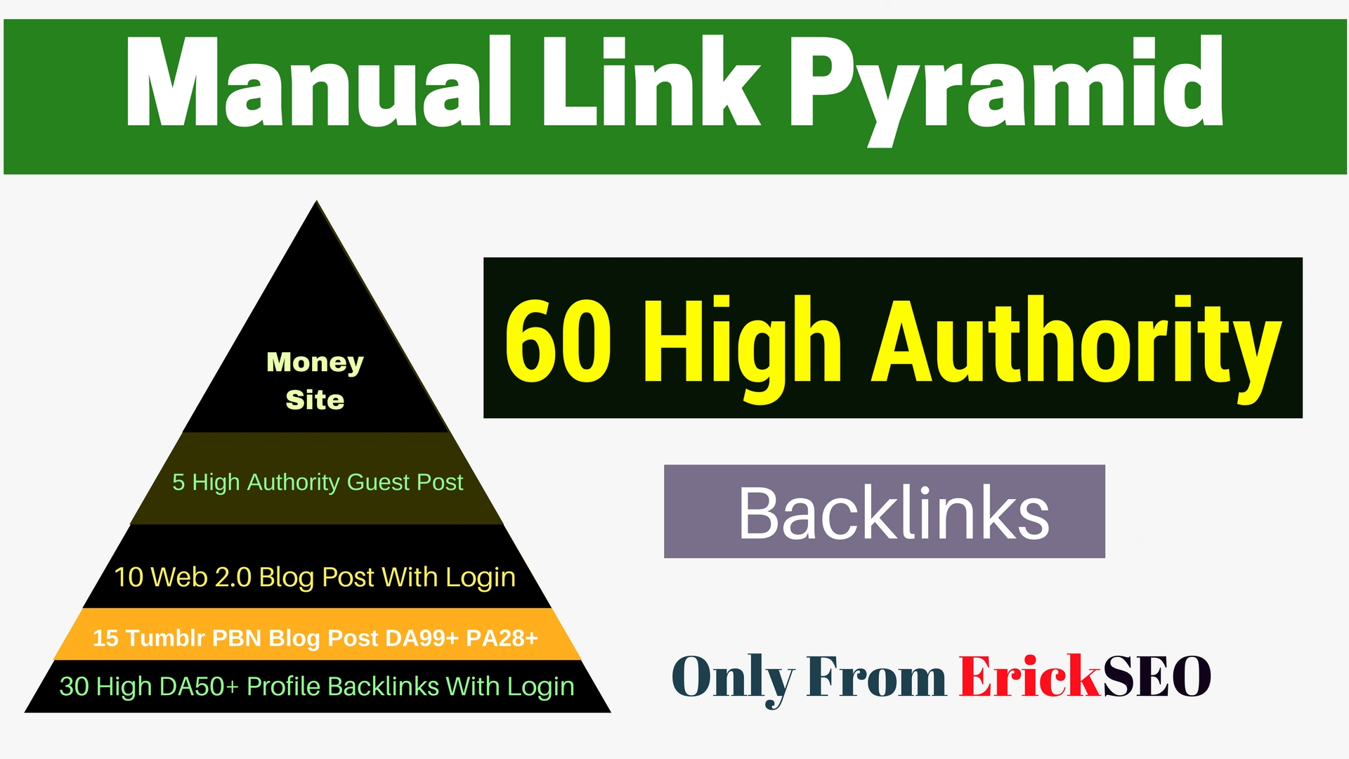 Manual Link Pyramid With 60 High Authority Backlinks