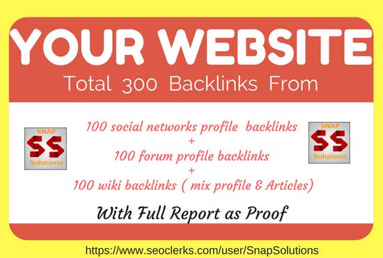 100 Social Networks Profile, 100 Forum Profile , 100 Wiki Mix Profile & Article Backlinks For Ur URL