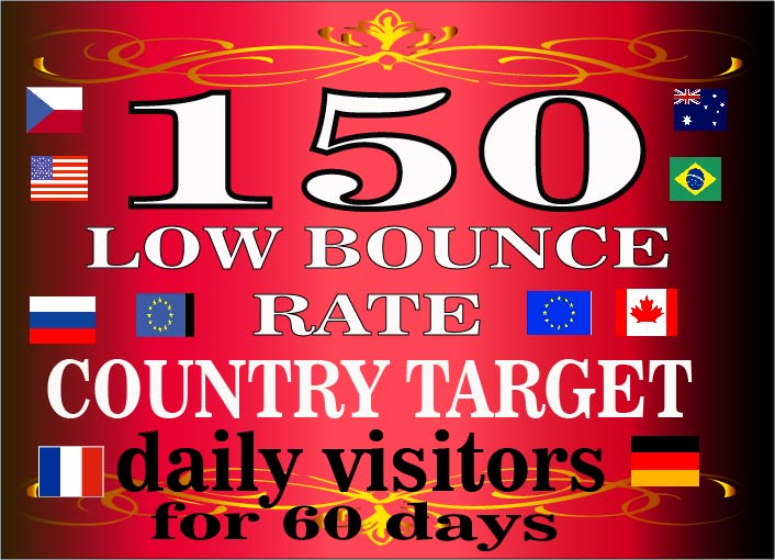 drive 150 daily low bounce rate country targeted website traffic visitors for 60 days