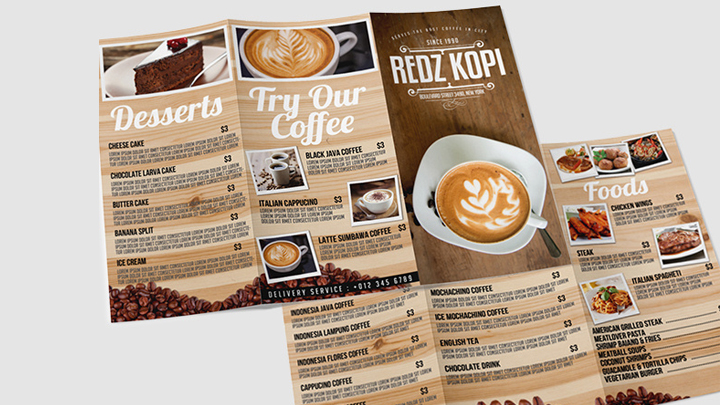 Make GREAT trifold menu for your food business