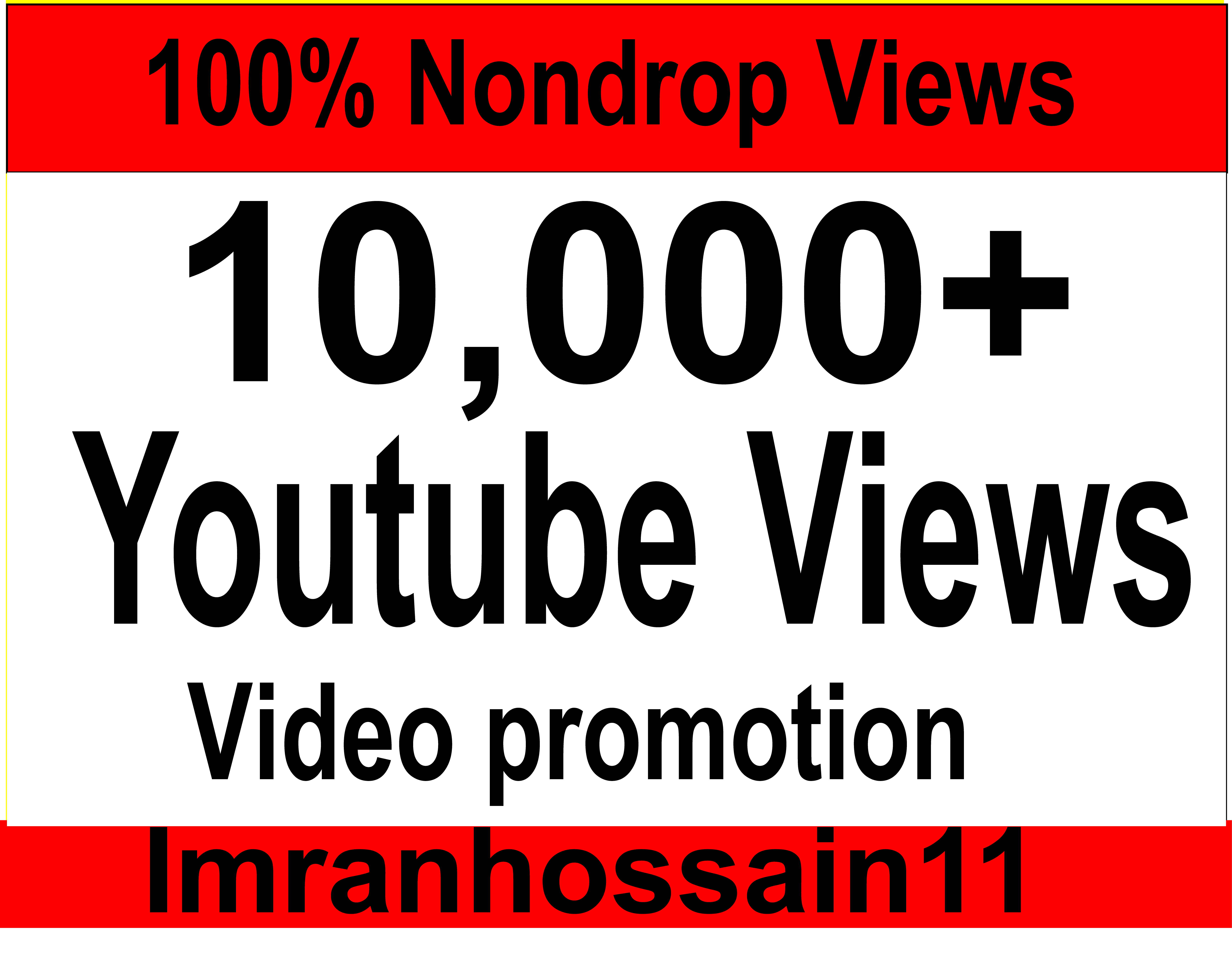 Instant Start 5,000 to 9,000 + super fast Nondrop real Youtube video vie ws
