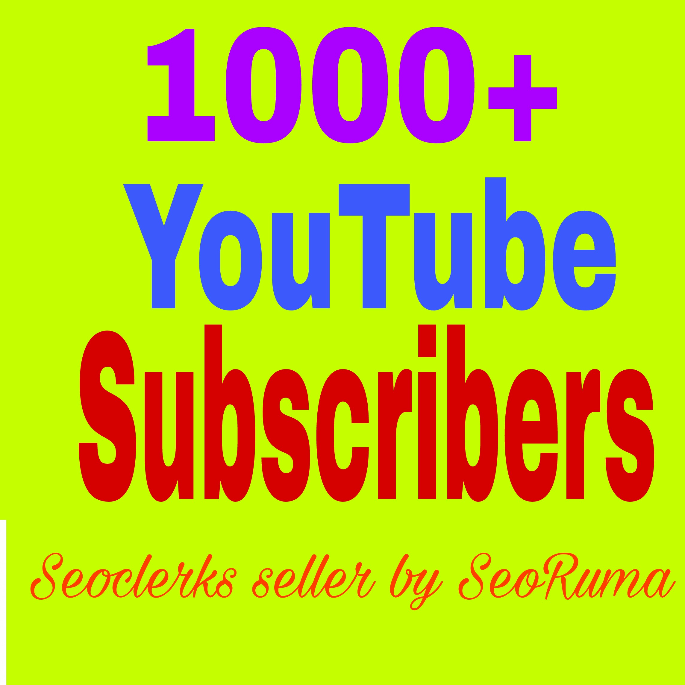 1000+ You Tube Chanel Subs Cribers non drop guaranteed  Very Fast in 24-72 hours complete just