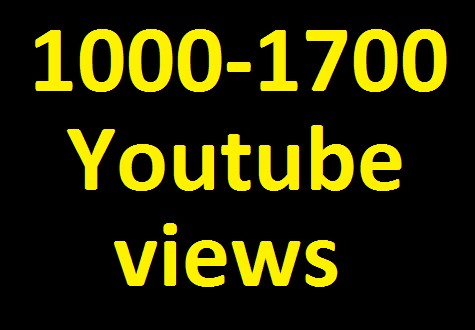 Add 1000 to 1700 High Quality YouTube Views non drop  guaranteed very fast in 12-24 hours completed