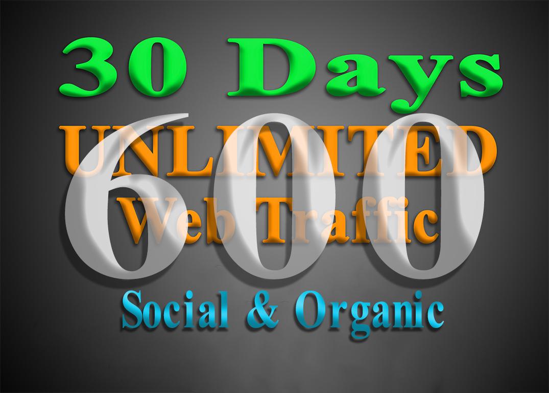 600 organic & social WEB TRAFFIC