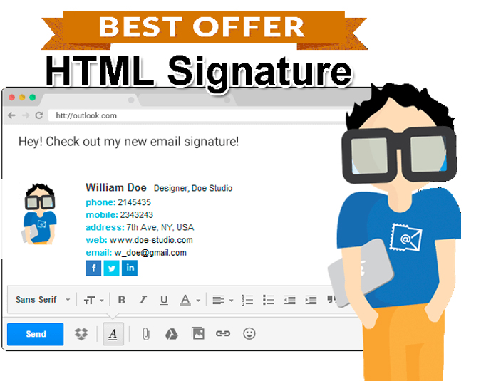 create html email signature with social icon for 5