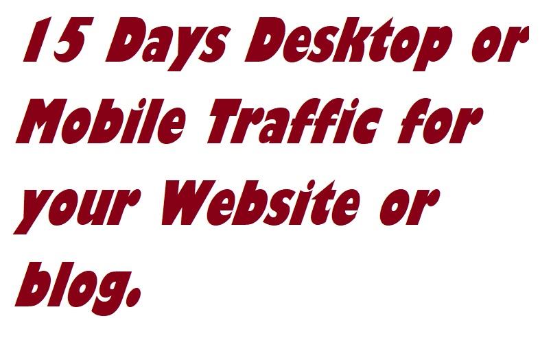 15 Days Desktop or Mobile Traffic for your Website or blog