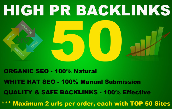50 High PR Backlinks from PR9 to PR3,  Seo Online Marketing