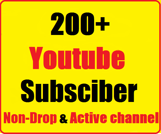 Instant start  210+ Youtube subs criber in your channel Nondrop,Safe Very Fast Refill guaranteed