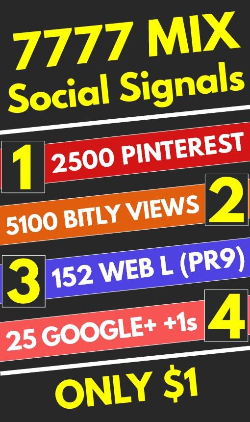 7777 Mix High Quality PR9 PR10 Social Signals Shares Bookmarks - SEO GOOGLE RANKING FACTOR