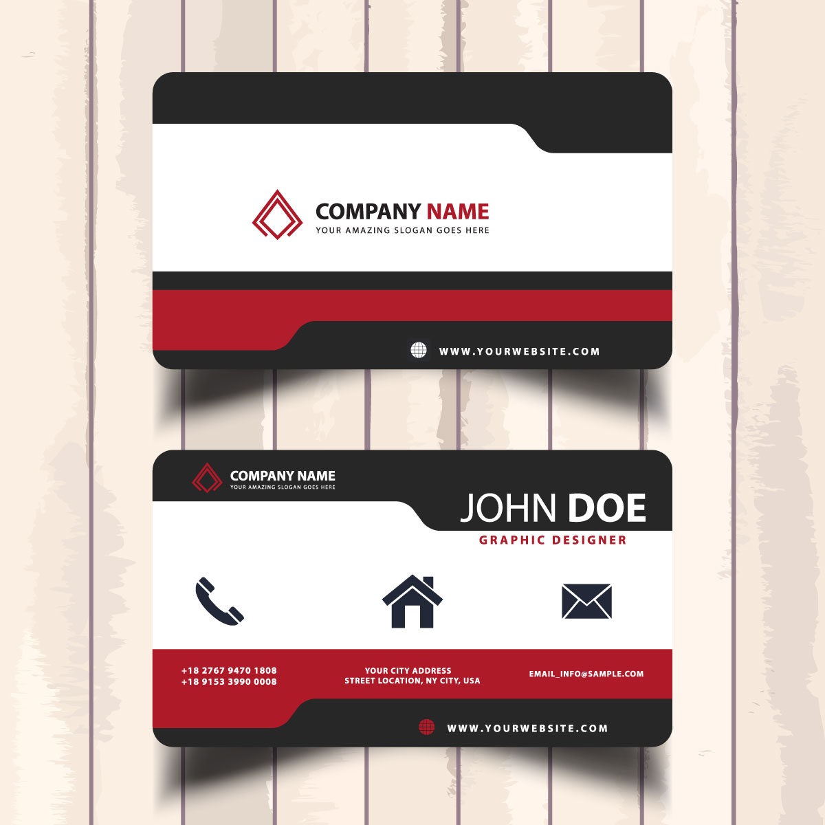 Design eye catching 2 sided business cards with one free design