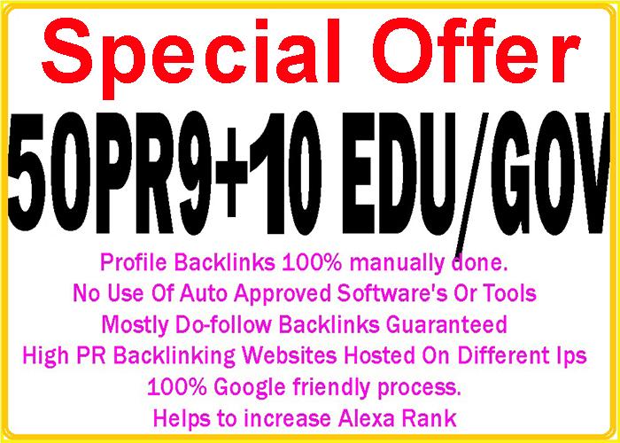 Handmake 50 Pr9 + 10 Edu/Gov High DA/PA Safe Google F...